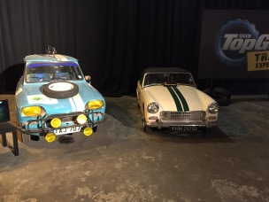 "The cars featured in the ""Classic Car Rally"" episode. Pictured is James May's Citroen (Left) and Jeremy Clarkson's Austin Healey Sprite (Right)"