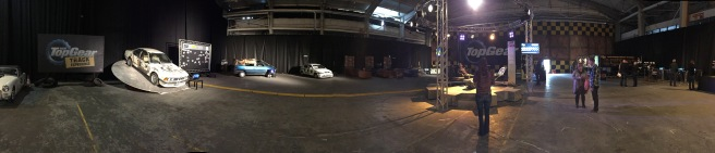 A Panoramic View of the Top Gear Studio.
