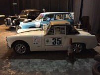 """The 3 cars featured in the """"Classic Car Rally"""" Challenge. (left to right Richard Hammond's Lanchester in black, James May's Citroen in blue and Jeremy Clarkson's Austin Healy Sprite in cream."""